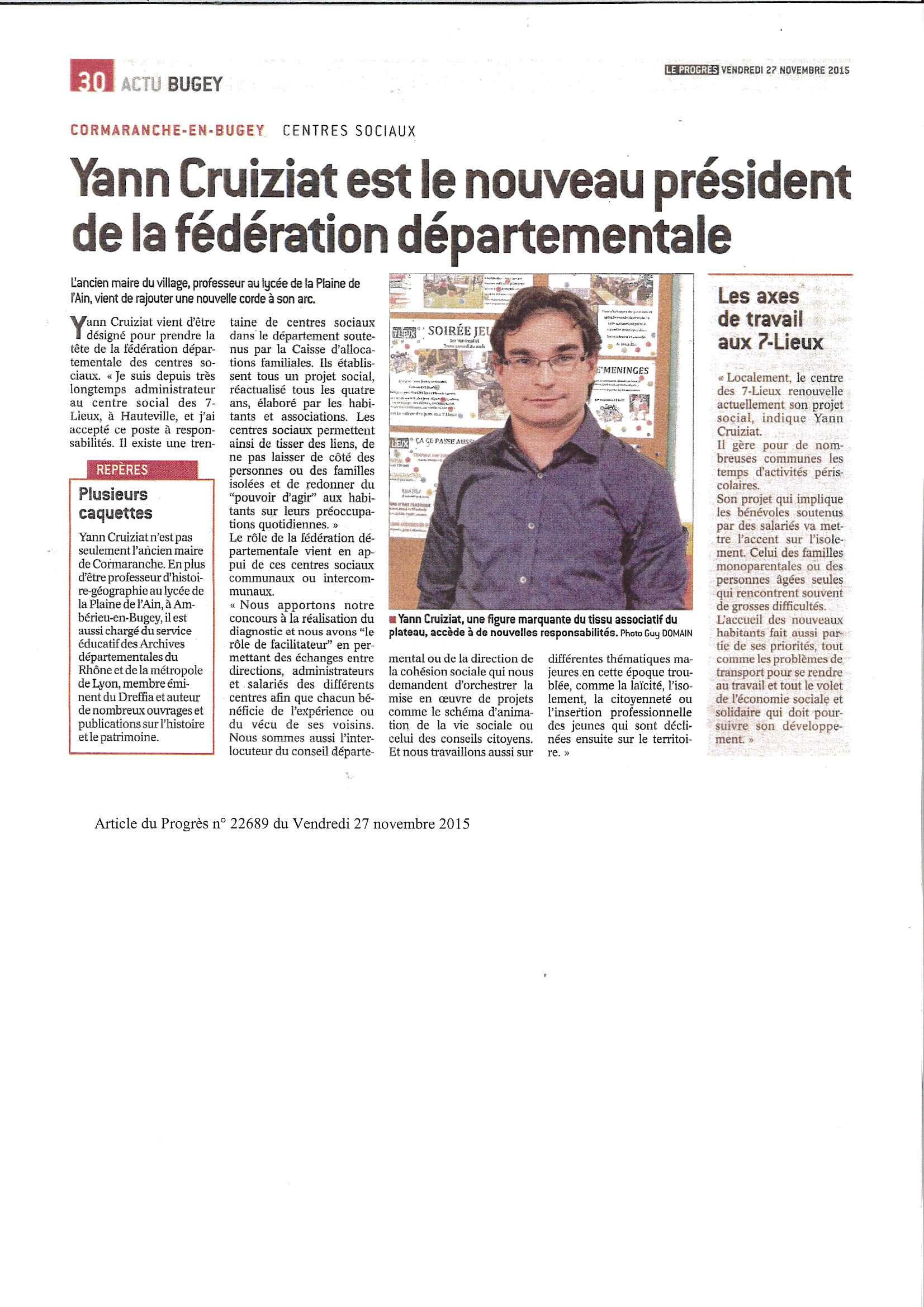 Yann Cruiziat nouveau président de la fédération départementale