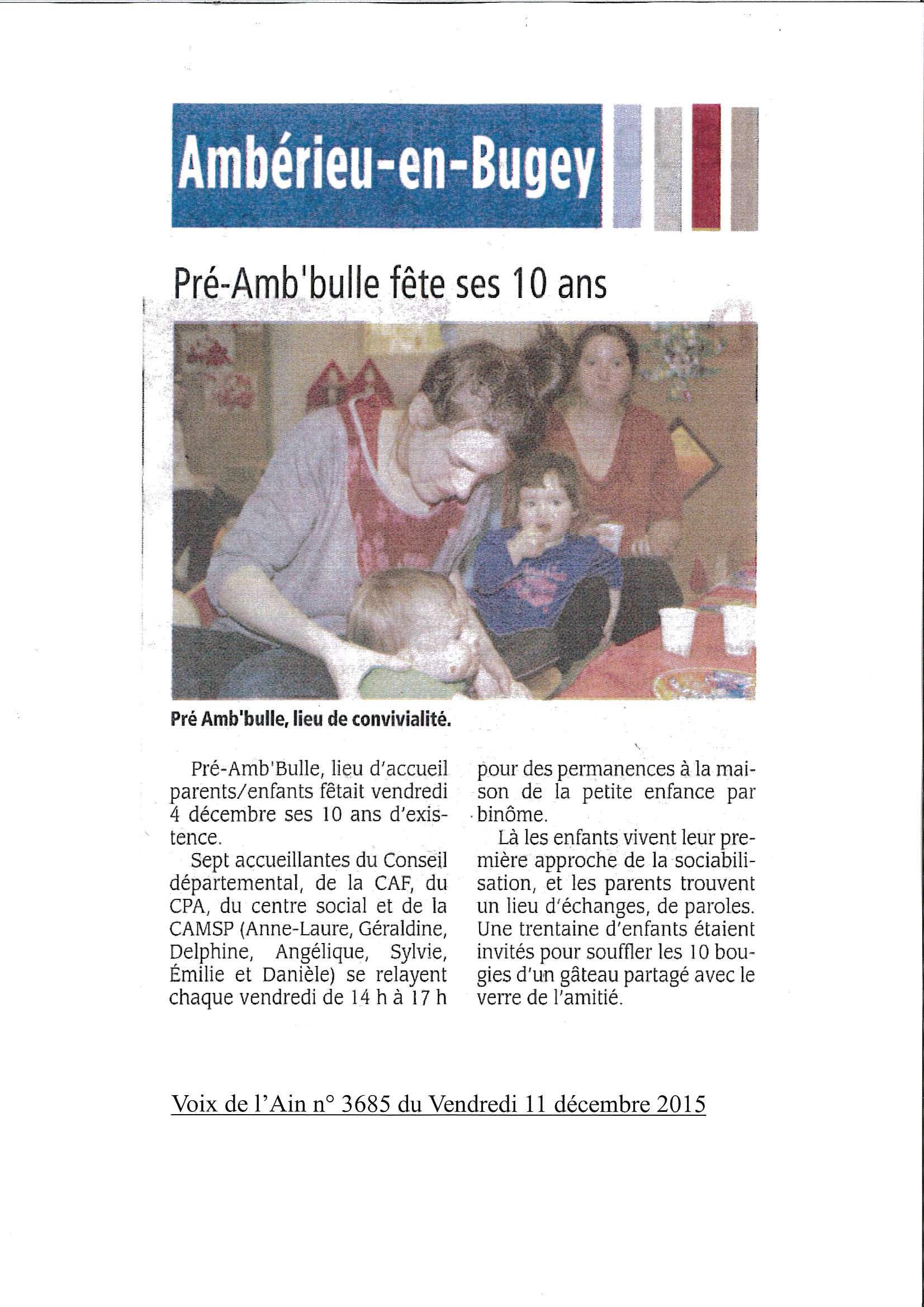 Préamb bulle fête ses 10 ans article voix de l'ain du 11 décembre 3685