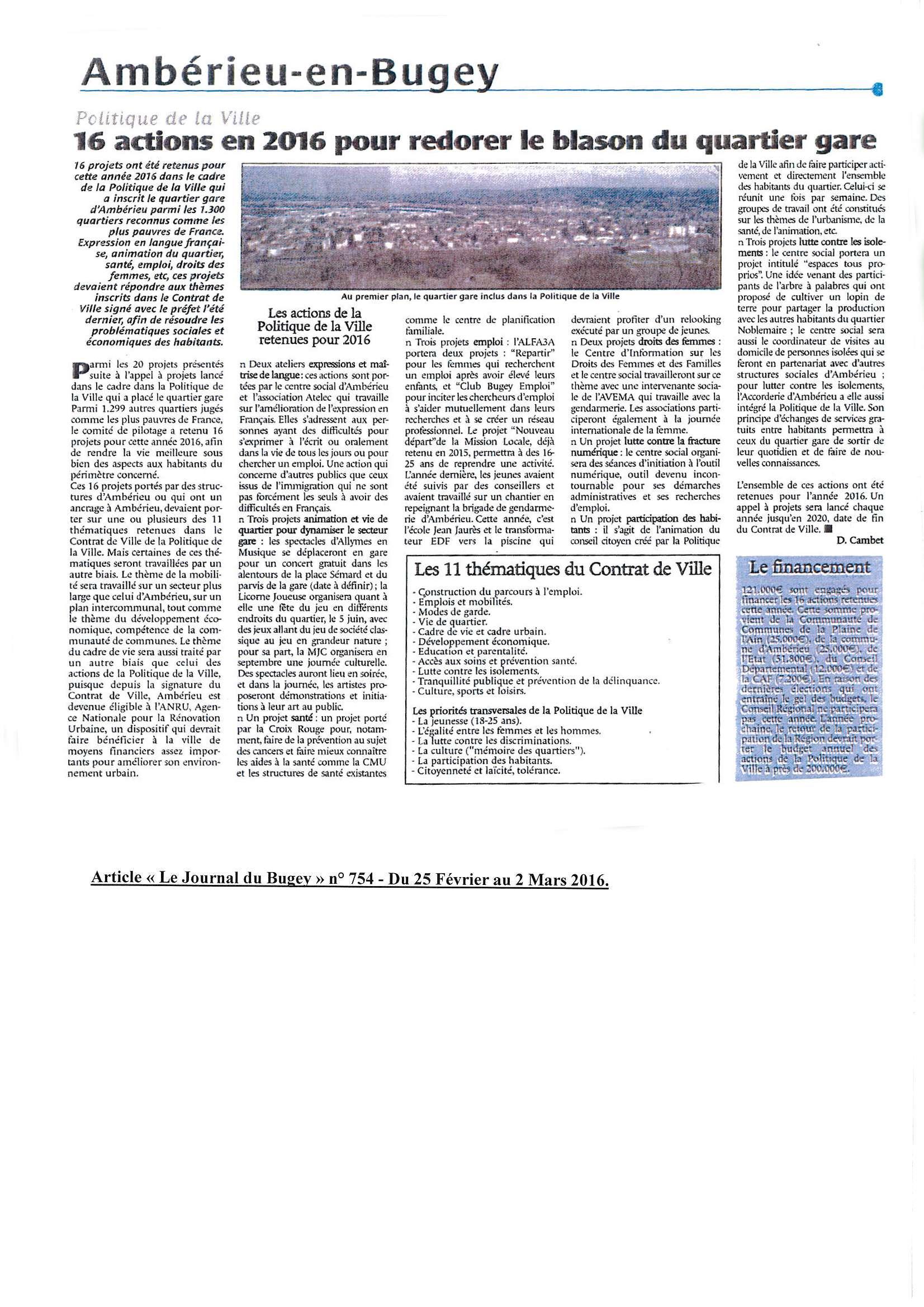 Article journal du Bugey du 25 Février Politique de la ville