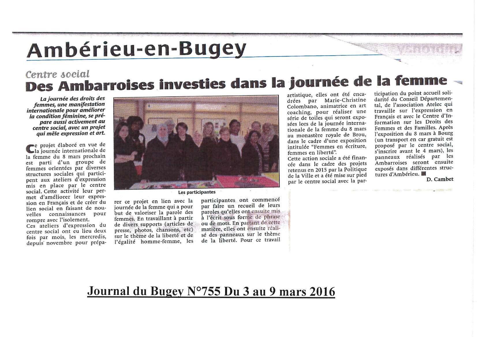 Journée de la femme article du Bugey N 755 du 3 au 9 mars 2016